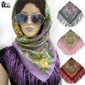 Cuadrado de Algodón Bufanda de la borla de 2017 Nuevas mujeres de la Moda Floral Impresa de Las Mujeres de la Marca Wraps Mujer Bufanda mujeres bufandas de algodón Diadema