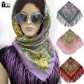 Tassel Scarf  2017 New Fashion women's Cotton Square Floral Printed Women Brand Wraps Female Scarf women cotton scarves Headband