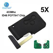 OkeyTech Chip inteligente con hoja pequeña para Renault Megane Scenic Grand, tarjeta de 3 botones, 433Mhz ID46 PCF7947, 5 unidades por lote