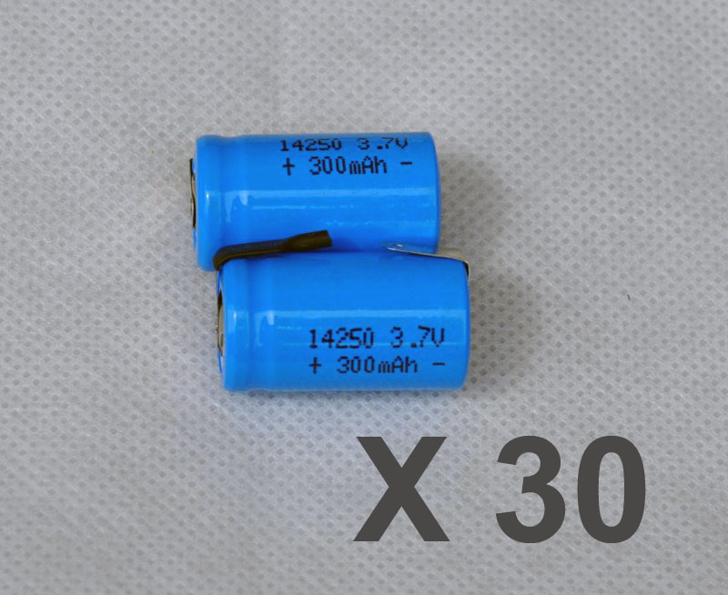 30PCS 3.7V <font><b>14250</b></font> li-ion <font><b>rechargeable</b></font> battery 300mah lithium ion li-ion cell with welding tab pins flat top image