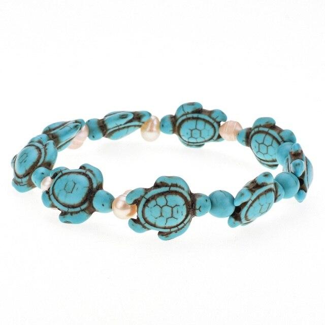 Bohemian Natural Stone Turtle Bracelet Mawgie