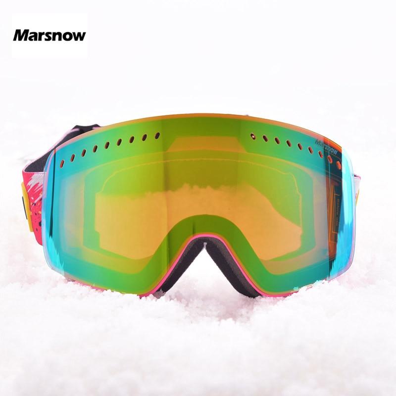 Marsnow lunettes de Ski hommes femmes 2 couche lentille UV400 Anti-buée Ski lunettes Snowboard neige lunettes patinage masque Ski lunettes Points