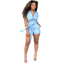 Adogirl Summer Shorts Jeans Jumpsuit Buttons V Neck Sleeveless Denim Romper with Belt Pockets Overalls Casual Playsuits
