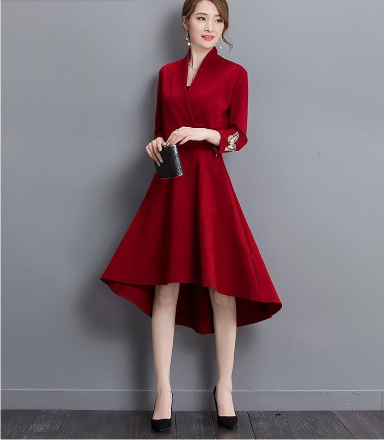 the best attitude b26f3 11cea US $32.7 20% di SCONTO 2016 nuove donne di disegno cena informale abiti  rossi ragazze moda primavera abito manica della signora elegante scollo a V  ...