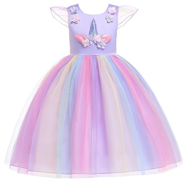 Unicorn Dress Christmas Kids Dresses For Girls Moana Elsa Costume Girls Princess Dress Children Birthday Party Dress fantasia 3