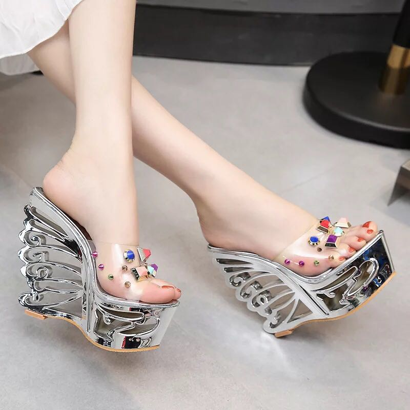 Womens Unique Butterfly Shape Heel Super High Clear Rivet Transparent Platform Peep Toe Slingback Sandal Slipper Shoes 15CM A179