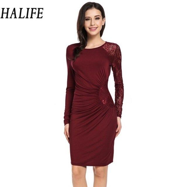 Halife Women Raglan Long Sleeve Work Office Wrap Dress Elegant One Side Ruched Sheer Fl Lace
