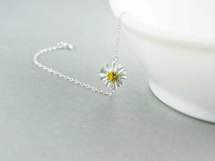 AKOLION Silver Cherry Blossoms Bracelets Charm Flower Bracelets 925 Sterling Jewelry For Girl Women 18