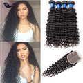 Peruvian Curly Hair With Closure Deep Wave Peruvian Virgin Hair With Closure 4 Bundles Human Hair With Closure