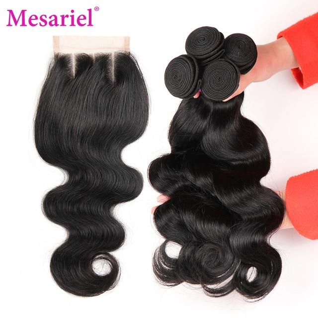 Mesariel Brésilienne Corps Vague 3 Faisceaux Armure de Cheveux Humains Avec trois Partie Dentelle Fermeture Couleur Naturelle Non remy Cheveux Livraison gratuite