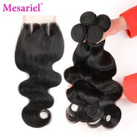 Mesariel Brazilian Body Wave 3 Bundles Human Hair Weave With Three Part Lace Closure Natural