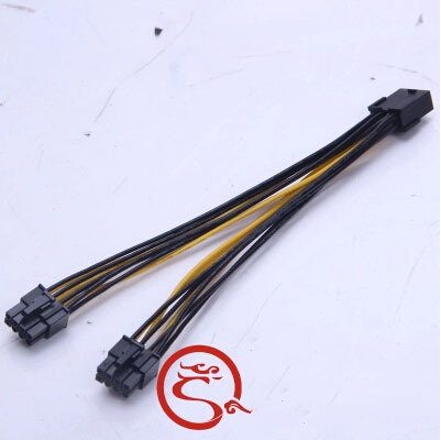 PC Desktop Computer PCI-E PCI Express 8Pin 1 female to 2 male 6+2Pin F/M  Y Splitter Adapter Power Cable Cord 18AWG 20cm аксессуар espada pci e x1 f to pci e x1 m 18cm epciem pcief18r