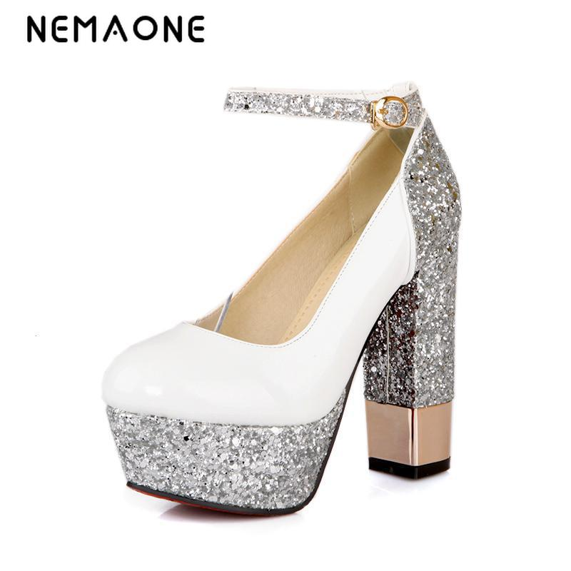 NEMAONE High Quality Women Wedding Shoes ankle strap high heels Ladies Party/Dress Shoes woman large Size 34-42