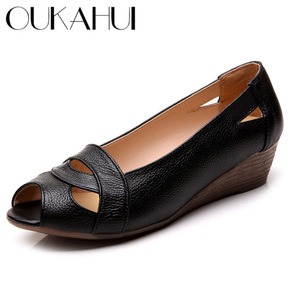 Image 1 - OUKAHUI Genuine Leather Elegant Sandals Women Summer Shoes Slip On Sexy Peep Toe Hollow Ladies Sandals Wedges 4cm Cover Heel 43