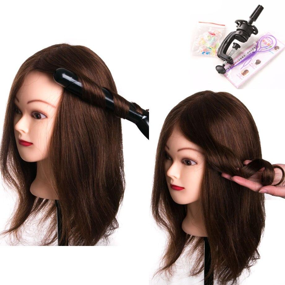 100% vrais cheveux humains tête poupées pour coiffeurs 16 ''brun tête d'entraînement professionnel Mannequin avec petite pince, peut être courbé