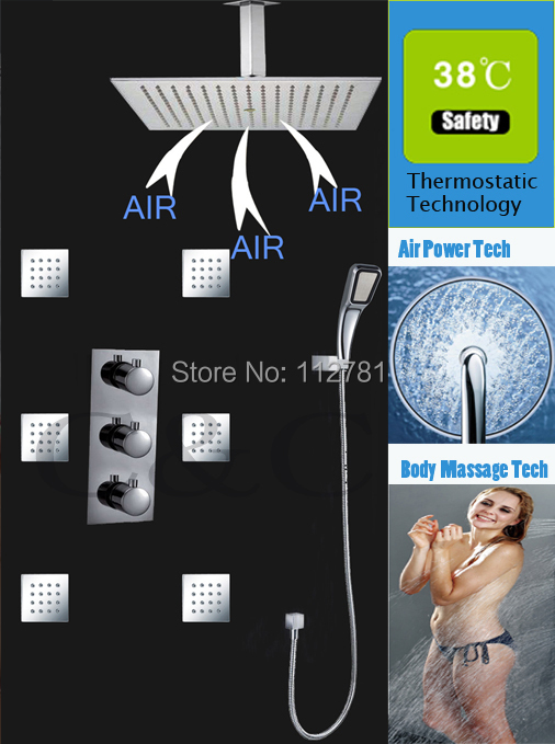 Air Drop Technology! Thermostatic Rain Shower Set Faucet With 16 Inch  Shower Head Water Saving Hand Shower Free Shipping china sanitary ware chrome wall mount thermostatic water tap water saver thermostatic shower faucet