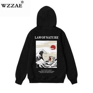 Image 3 - Wzzae japonês bordado engraçado gato onda impresso velo hoodies 2020 inverno japão estilo hip hop camisolas casuais streetwear
