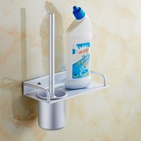 WSHYUFEI Stainless Steel Wall Mount Mounted Toilet Brush Set With Tempered Glass Cup Holder Satin Nickel