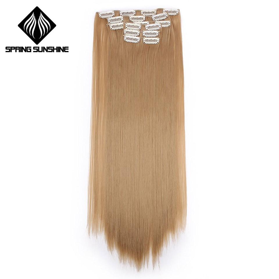 Luz do sol da primavera 16 22 ''140G Longa Reta de Seda Clipes Em Extensões de Cabelo Sintético Hairpiece Falso Grampos de cabelo Falso real Natural