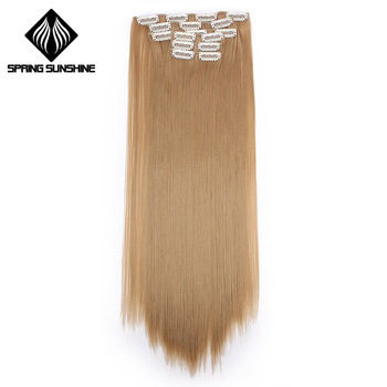 "Spring sunshine 22"" 140G Long Silky Straight 16Clips In Hair Extensions Synthetic Fake Hairpiece False hair Clips Real Natural"