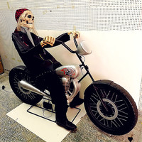 160CM Halloween Cosplay Motorcycle Skull Voice and Light Props Horror Toys Ghosts House Haunted House Bar Door Decoration L2707