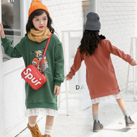 Children's Garment Girl Long Winter New Pattern Increase Down Thickening Cartoon Lace Split Easy T shirts Kids Clothing