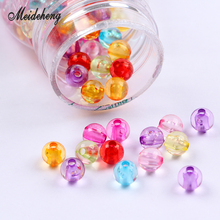 Acrylic Round Beads Small Transparent Colorful Handcrafted Necklace Material Costume Jewelry Bracelet Needlework Accessories