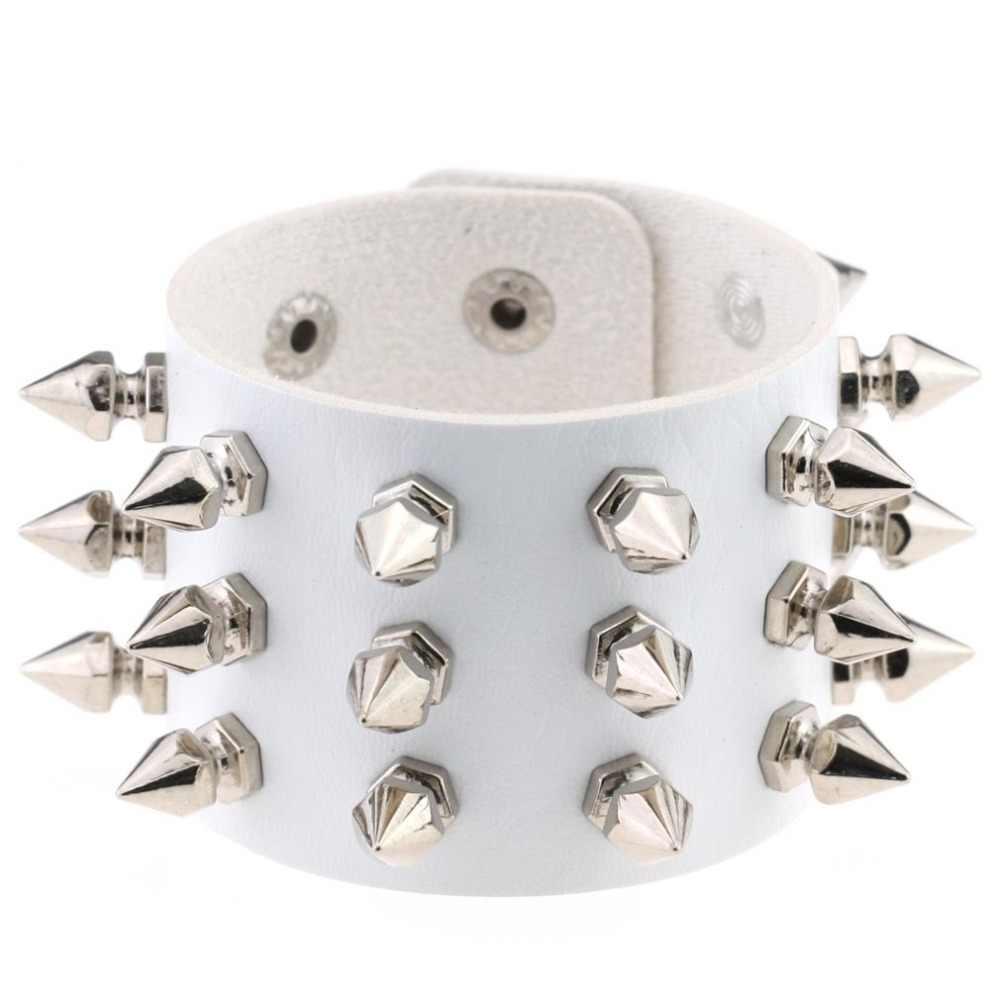 KMVEXO unikalne 3 wiersze kolce nit Stud szeroki mankiet skórzany Punk Gothic Rock Unisex bransoletka uprząż bransoletki dla kobiet mężczyzn biżuteria