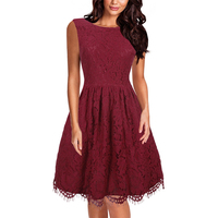 Women Elegant Vintage V Back Sleeveless Party Dresses Sexy Burgundy O Neck Rockabilly A Line Cocktail