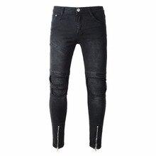 HOT 2019 Fashion Casual Slim Men wear Denim holes torn leg Zipper Pleated hip hop jeans cowboy straight mens trousers