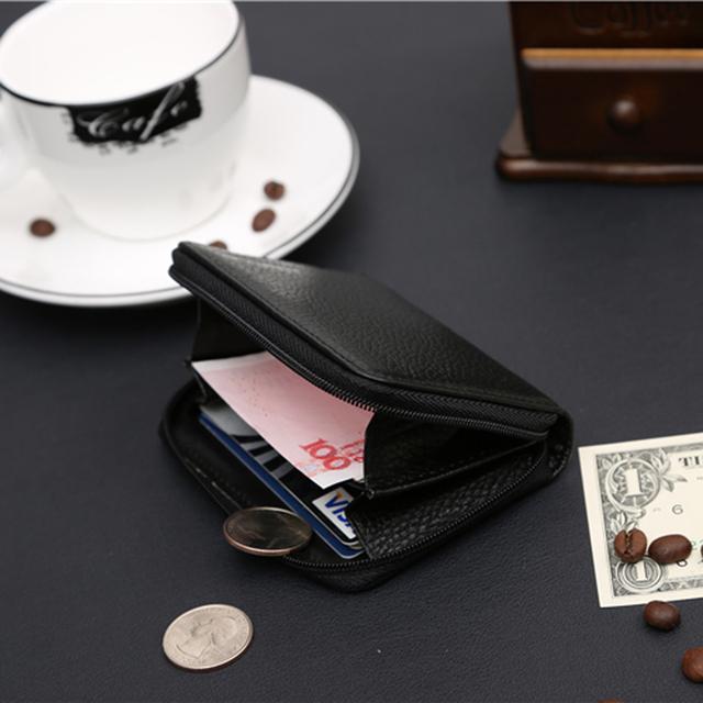 Zipper Little Genuine Leather Mini Small Money Men Women Change Coin Purse Wallet Holder Female Male For Pouch Bag Case Partmone