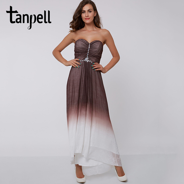 Tanpell Grant Evening Dress Dark Brown Beading Ruched Ankle Length Sleeveless A Line
