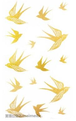 2Pcs/Lot 10*17.5cm Swallow Design Women Leg Hand Body Arm DIY Gold Tattoo Stickers Waterproof Temporary Glitter Tattoo Sticker