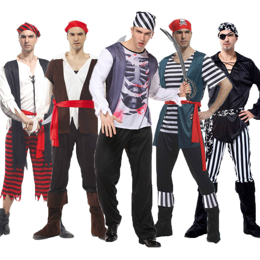 Umorden Halloween Holiday Party Costumes for Men Captain Jack Pirate of the Caribbean Costume Adult Fancy Pirates Cosplay Set