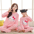 Stripe+Cat Leisure Wear Pajamas Family Style Clothing Parent-Child Set Mother and Daughter Home Clothes Family Clothing Set FF27