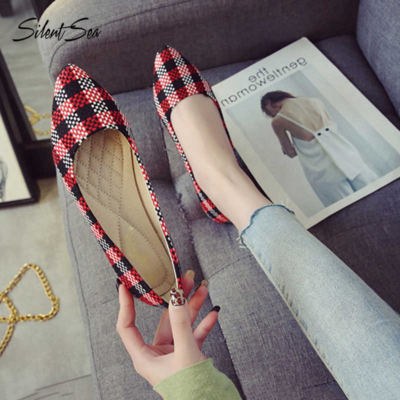 Silentsea Spring Autumn Women Flats Shoes Pointed Toe Ballet Flats Woman Shoes Gingham Boat Shoes Zapatos Mujer Single Shoes
