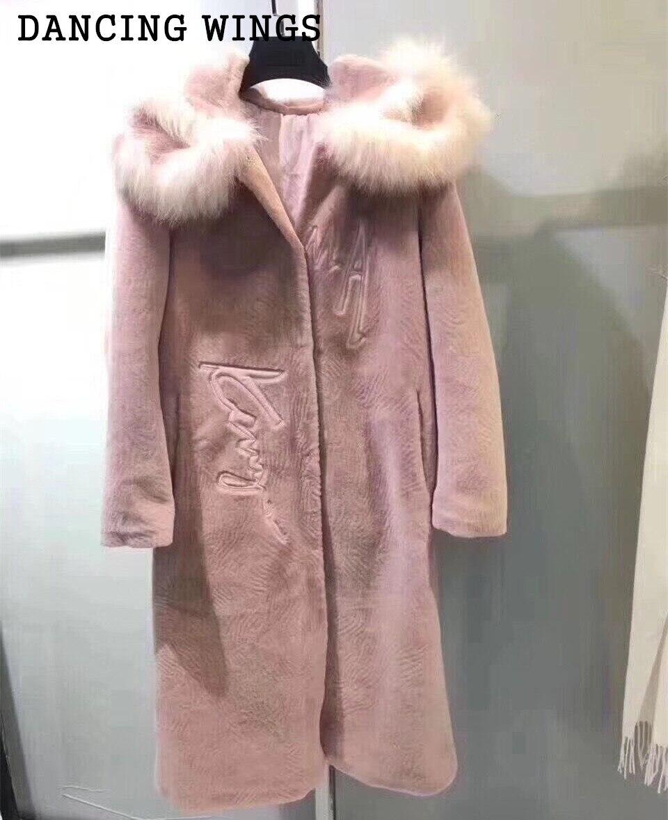 Winter font b Women s b font Sheep Shearing Fur Coat With Hood Real Fox Fur