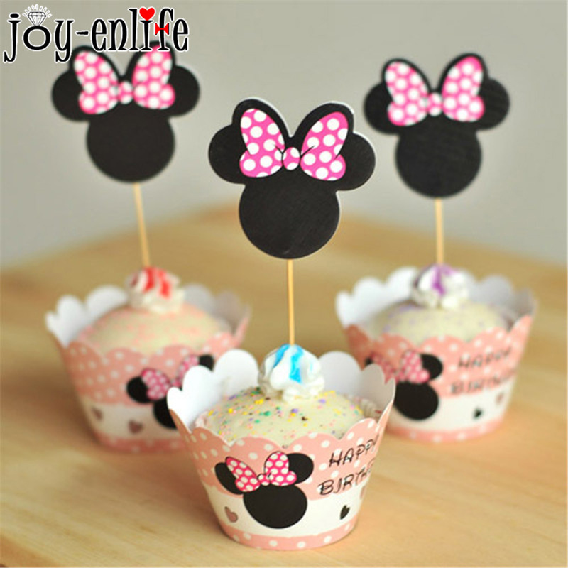 JOY-ENLIFE 24pcs Minnie Mouse Party Birthday Cupcake Wrapper Cake Toppers Kids Birthday Party Decor Baby Shower Party Supplies