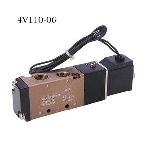 Image 5 - DC 12 V 24 V 5 Pneumatische Magneetventiel 4V110 06 Uitlaat 4mm 6mm 8mm 10mm 12mm Quick Fitting Base Set AC 110 v 220 v 4V110 06