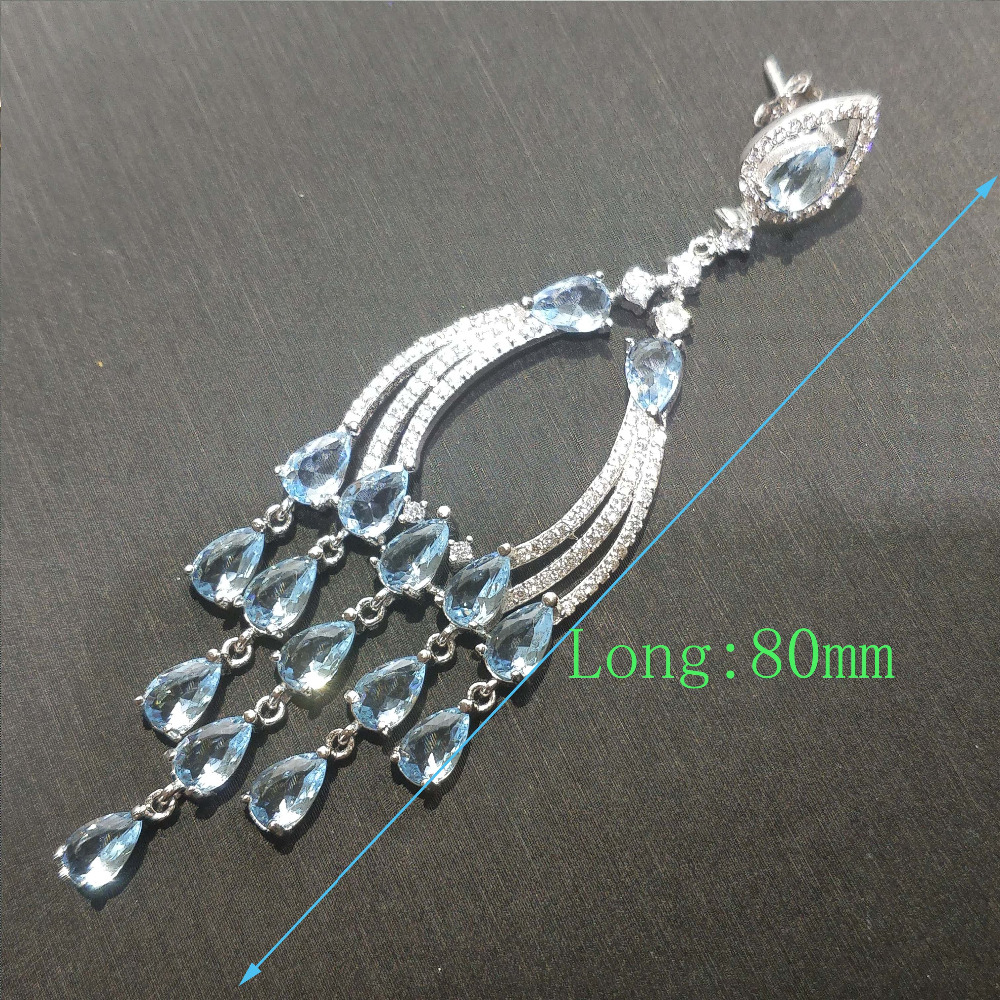 FLZB Luxury long earrings in 925 sterling silver with natural topaz in 18k white gold plated