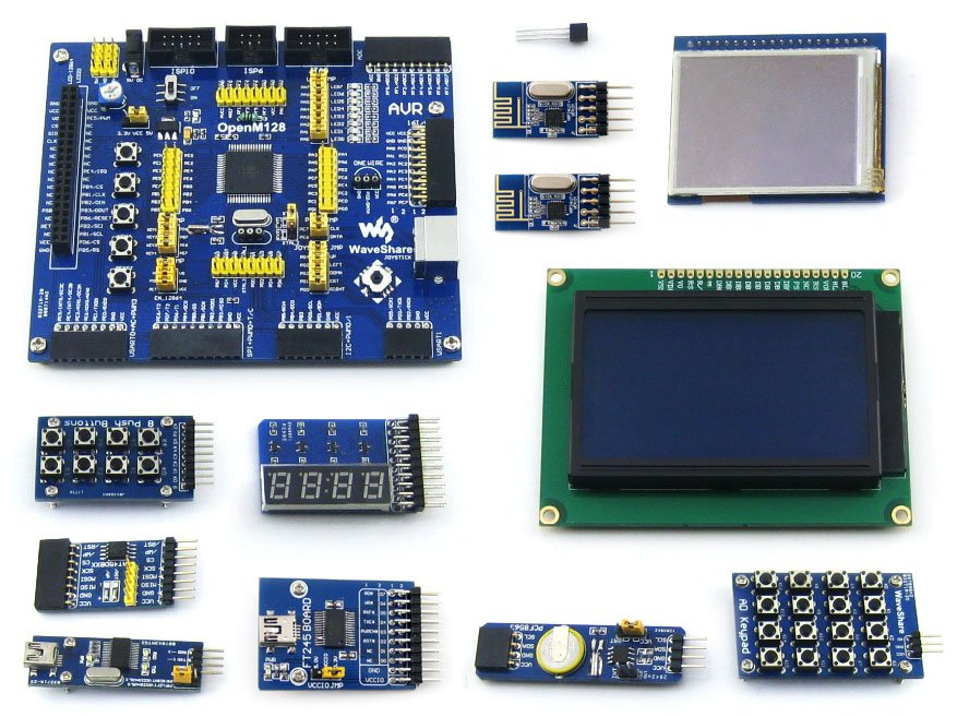 ATmega128A-AU ATmega128 AVR 8-bit RISC Evaluation Development Board +11pcs Accessory Modules Kits = OpenM128 Package B