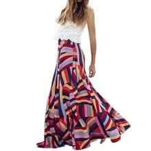 Модные женские богемные Геометрические печати молнии Свободная юбка длиной до щиколотки
