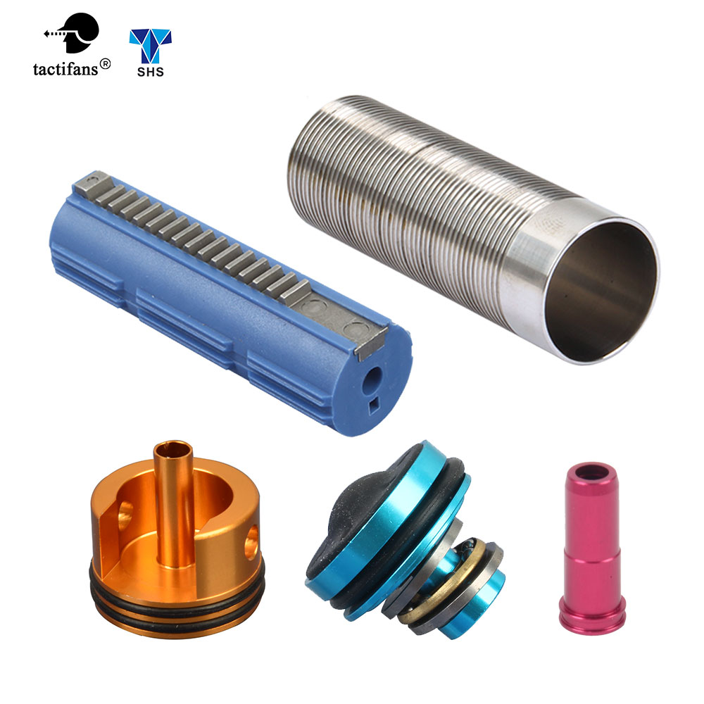 5pcs Slient Bearing Cylinder/Piston Head/Nozzle /14/15 Teeth Pistol Set For M4/AK47 Series Airsoft AEG/EBB Hunting Accessories