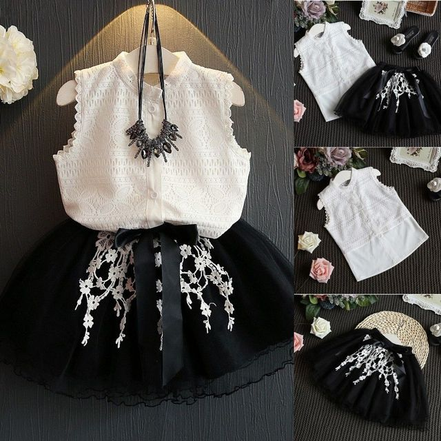 9f26c4beb56e Fashion Toddler Kids Girls White Lace Tops Shirt Tulle Skirt Outfits Dress  Children Girl Kid Clothing Costumes 2-7Y