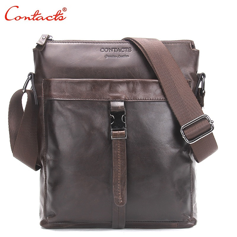 CONTACT'S New 2017 Genuine Leather Men Bags Hot Sale Male Messenger Bag Man Fashion Crossbody Shoulder Bag Men's Travel Bags hot sale male messenger crossbody shoulder bag bags pu leather men bags men s casual travel bag for man