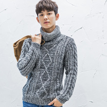 High-necked sweater 2016 Winter New Korean Men's Jacquard Sweater Thick Sweater Loose men's Sweater Comfortable  MK547