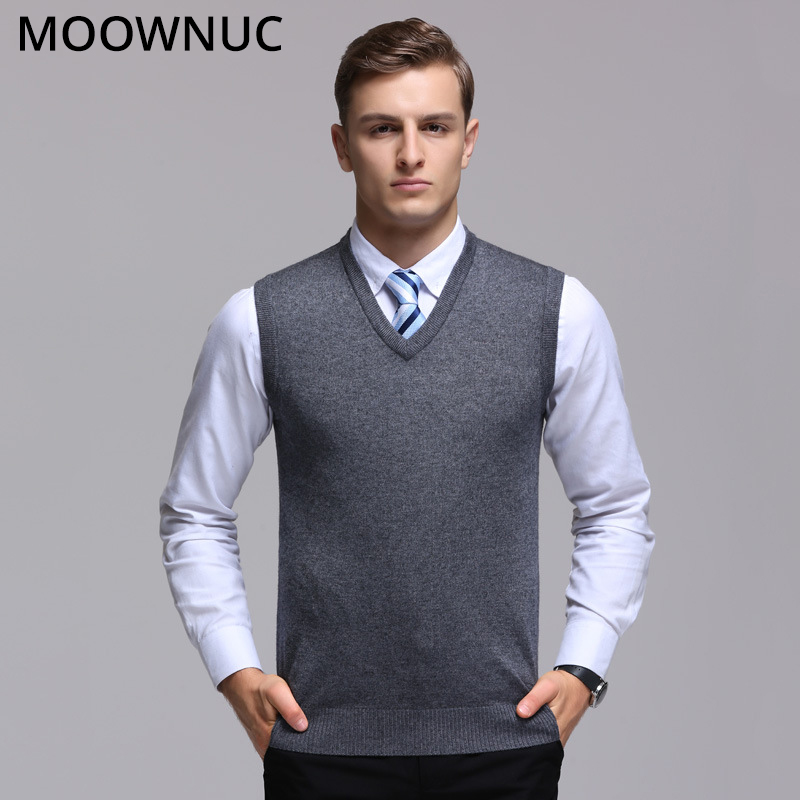 Men Sweater Sleeveless Vest For Men Homme Classic Style FIt Fashion Business Casual Male Solid MOOWNUC MWC Keep Warm V-Neck 4XL