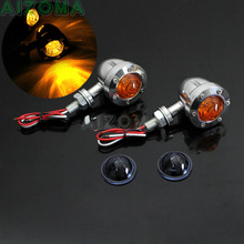 Pair Bullet Aluminum Turn Signal Indicators Light w/2pcs Smoker Lens Amber Flashing Blinker Lamp For Harley Dyna BOBBER CRUISERS