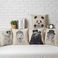 Dibujo animales creativo dibujos animados Vintage Lino algodón cojín Lino almohada hogar decorar sofá cojines