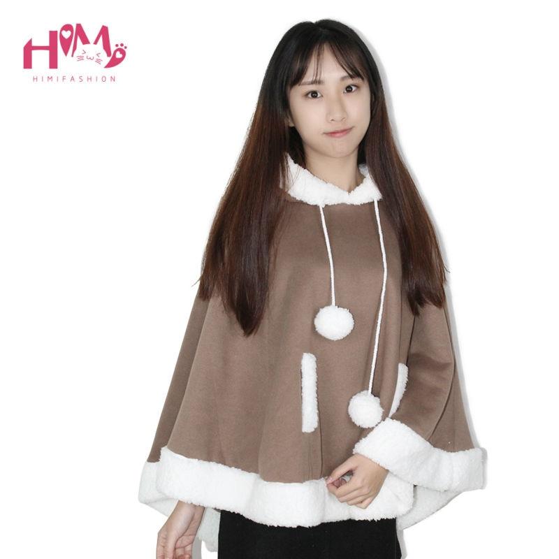 Christmas Hooded Cloak Winter cape Women Pink Unlined Upper Garment Sets Fleece Lovely Japanese Coat Blue  12